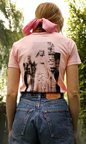 Pink Women's Tshirt with Gothic Statue Photo
