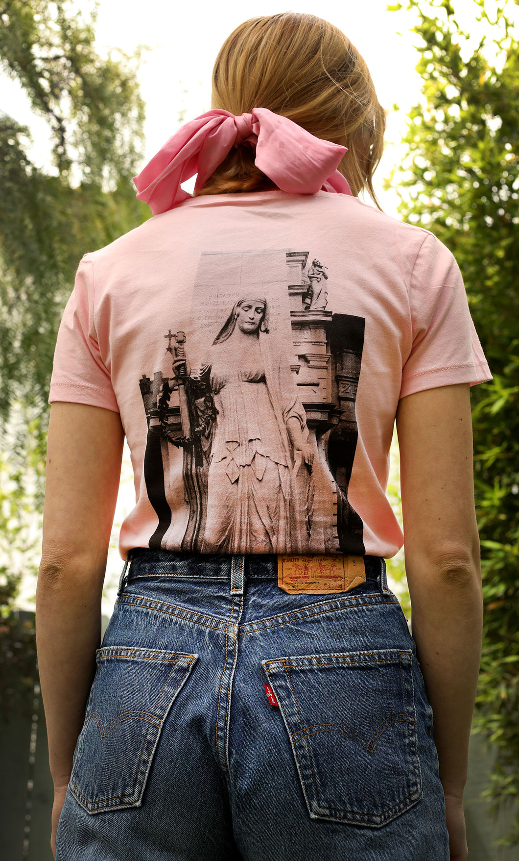 Women's T-shirt with Gothic Woman Statue Photo, Pink