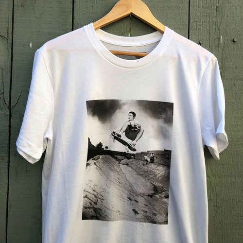 Matt Hensley Skateboard Ollie Tail Grab Skate  T-shirt by J Grant Brittain $32