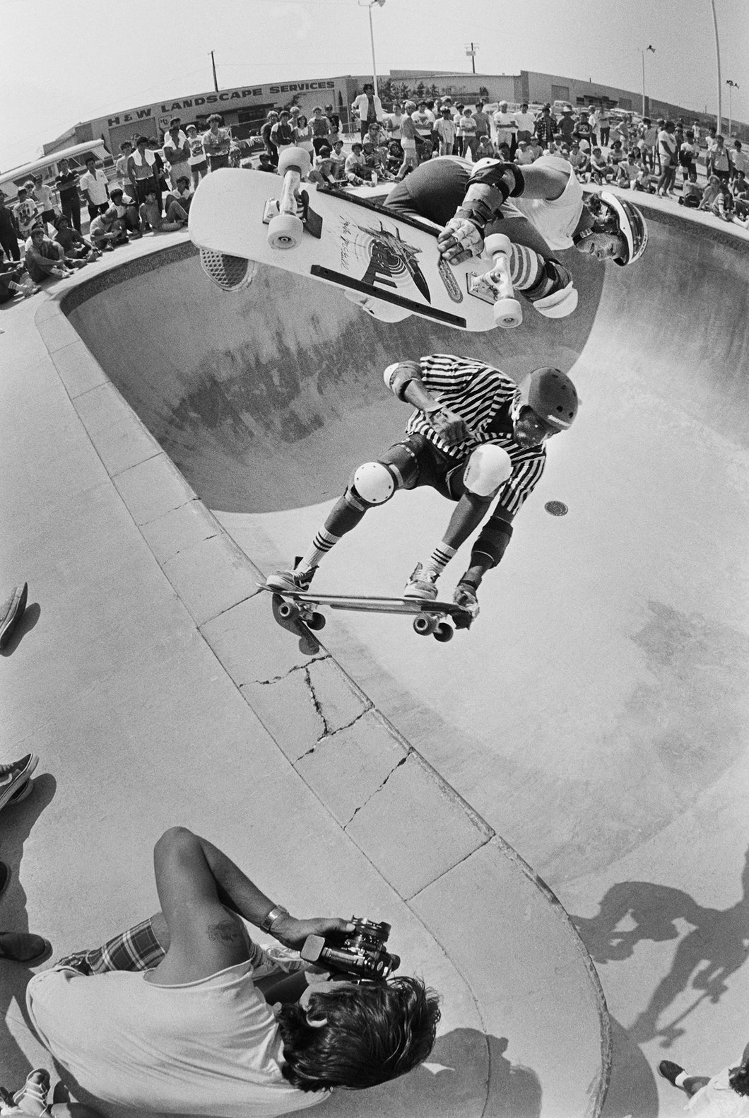 Steve Steadham and Mike McGill Doubles Upland 1985 Skateboarding Photo - J Grant Brittain