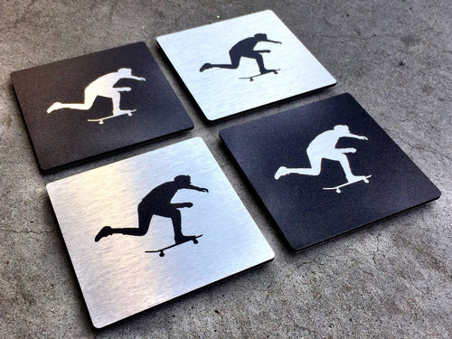Push Skateboarding Photo Black & Silver Aluminum Coaster Set -