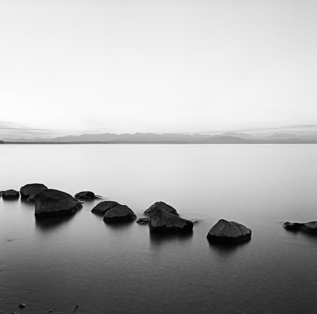 Zen Lake Fine Art Photo Print - Yellowstone Lake Black and White 16X20