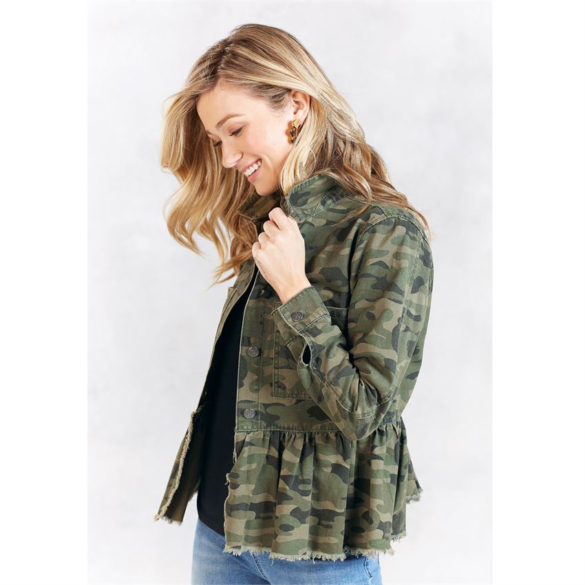 Banks Camo Peplum Denim Jacket