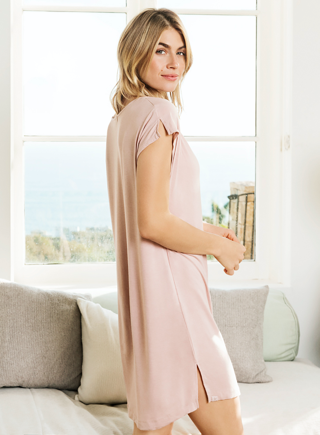 Luxe Milk Jersey Cowl Neck Nightshirt