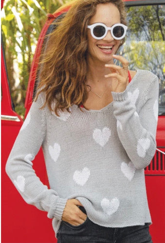 V Neck cotton heart sweater