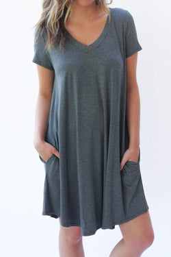 The Easy V Dress - Charcoal