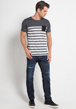 POCKET GREY STRIPED WHITE