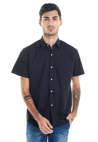 SHORT SLEEVES BLACK OXFORD SHIRT