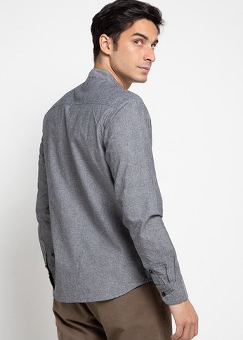 LS Shirt Plain Collar - Grey