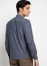 LS Shirt Plain Collar - Navy