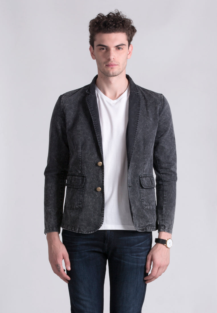 Ice Wash Blazer - Black