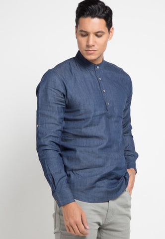 Shrimp Shadow Collar Shirt - Navy