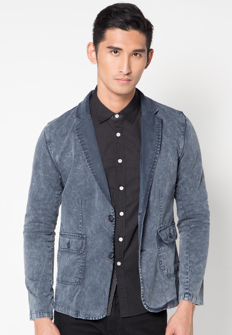 Ice Wash Blazer - Blue