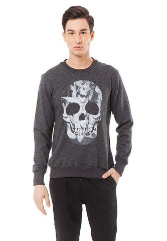 SKULL RAVE SWEATER - MISTY BLACK