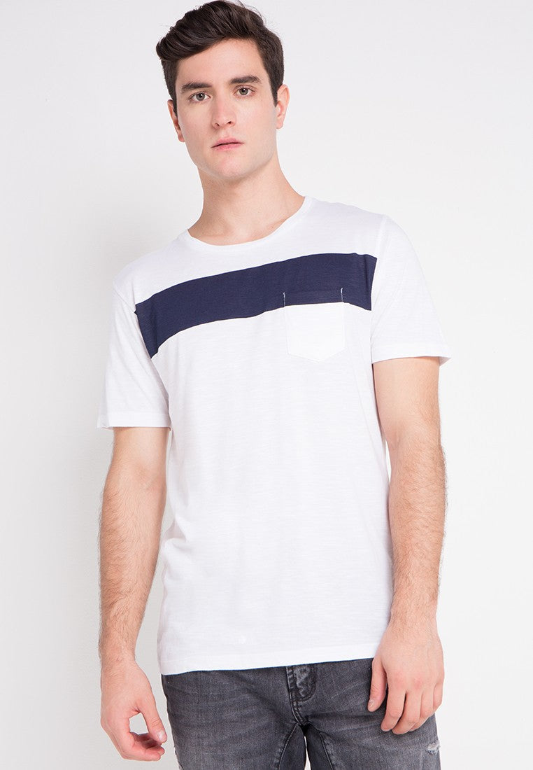 WHITE SHORT SLUB TSHIRT