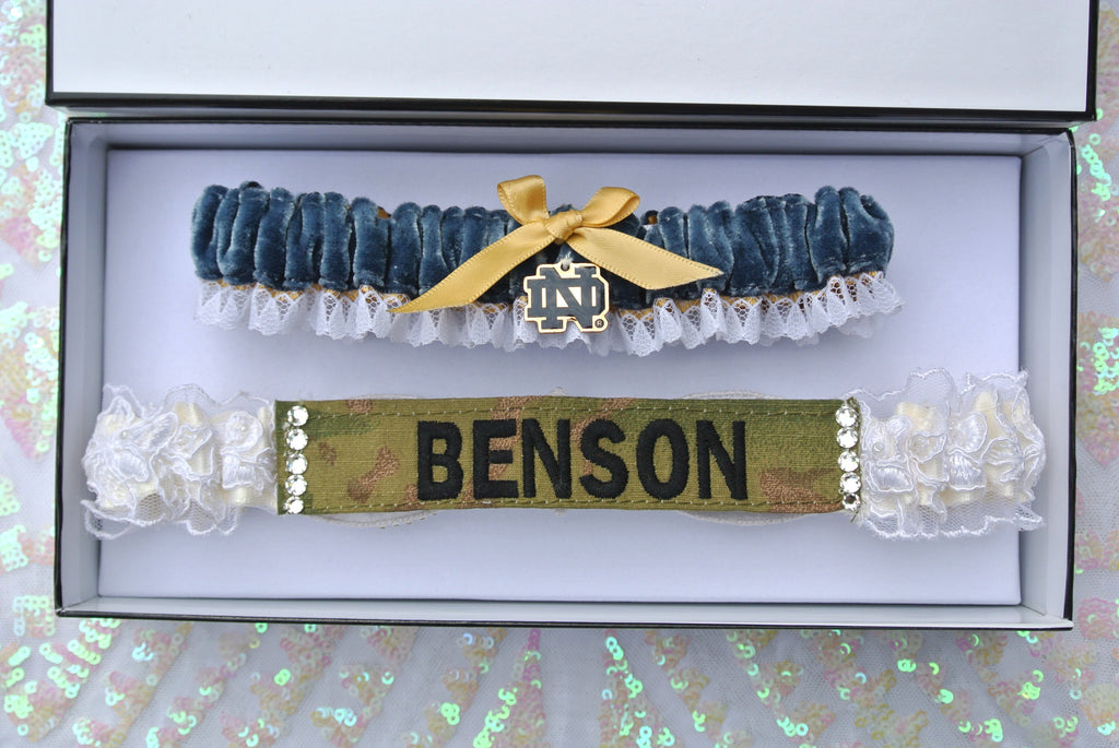 Custom Garter Spotlight: La Gartier bride Lindsay Rogers' Military Garter and Notre Dame Toss Garter Set
