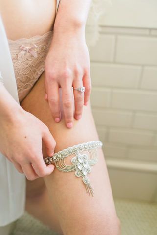 art deco wedding garter bling