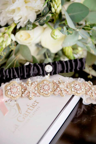 rose gold wedding garters