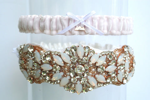rose gold wedding garter