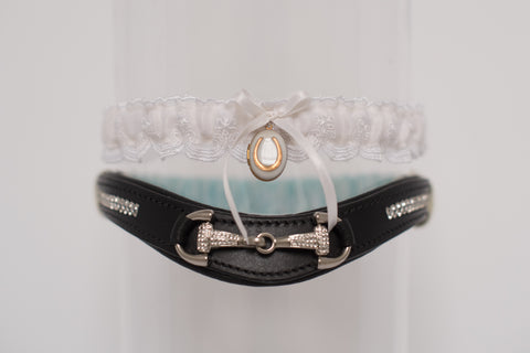 equestrian horse bit garter with locket