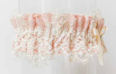 blush pink wedding garter with lace