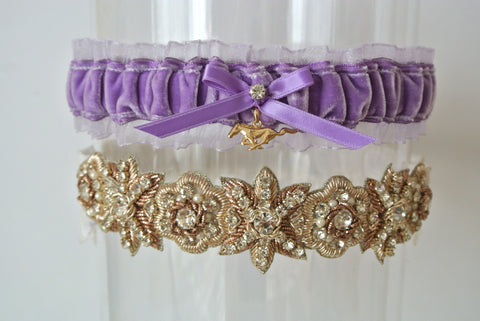 purple velvet wedding garter set