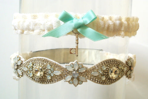 St Lucia Blue wedding garter