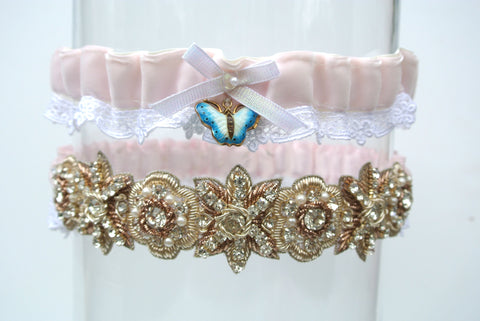 pink wedding garter set