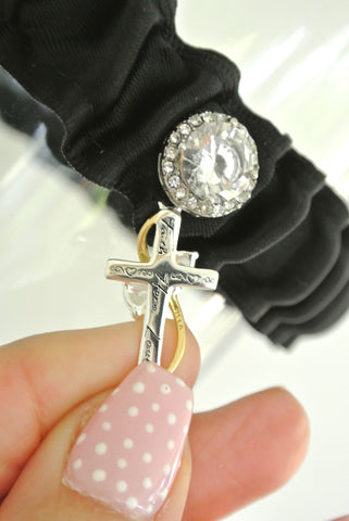 wedding garter with cross
