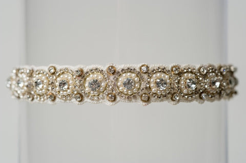 pearl and rhinestone wedding garter