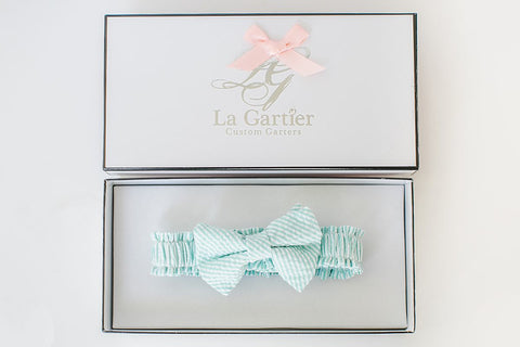 mint julep wedding garter seersucker bridal garter