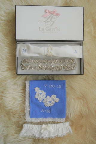 custom wedding garter set La Gartier