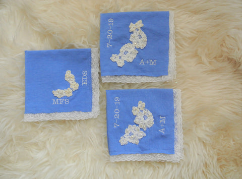 something blue wedding handkerchiefs