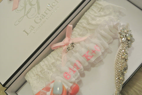 wedding garter with initials