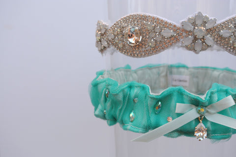 tiffany blue custom garter