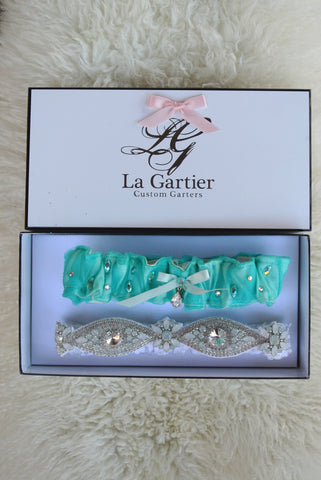 tiffany blue wedding garter set