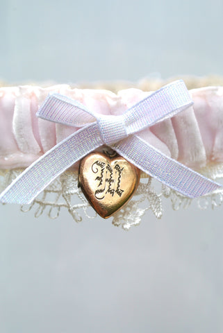 vintage locket wedding garter