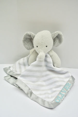 Customized Elephant Security Blanket With Boy's Name
