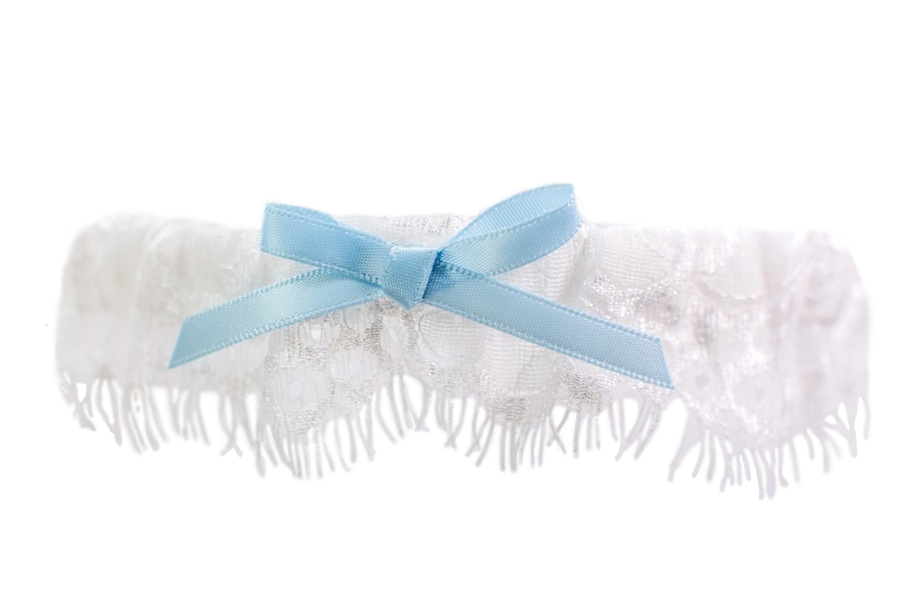 Ivory Lace Toss Garter with Blue Bow
