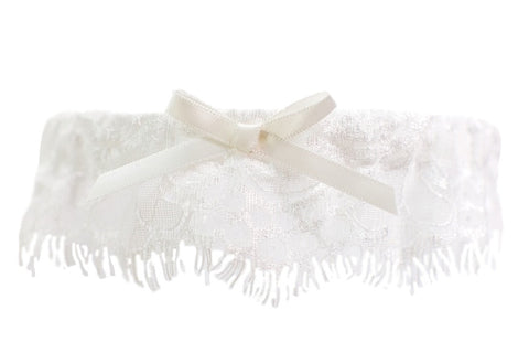 Ivory Lace Toss Garter with Ivory Bow
