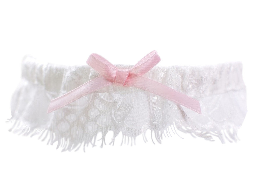 Ivory Lace Toss Garter with Pink Bow