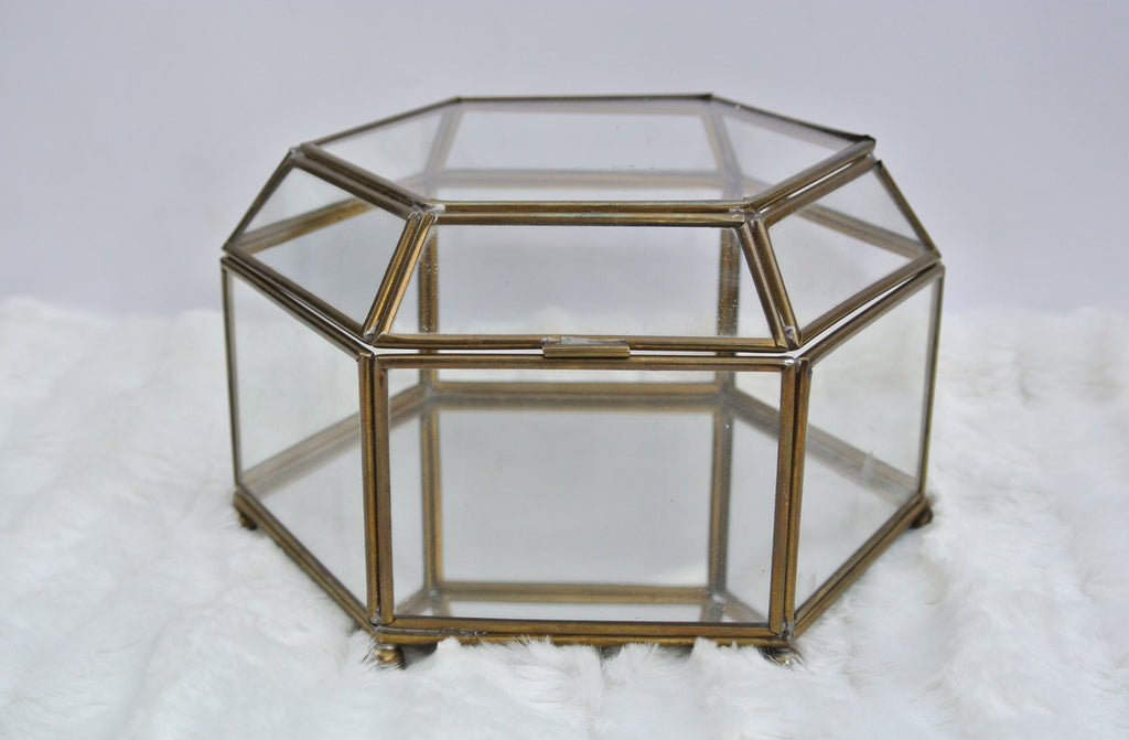 Six-Sided Vintage Glass Ring Box