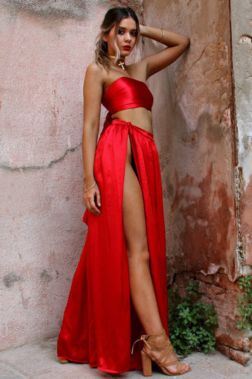 Satin Silk Rogue Two Piece Wrap Gown