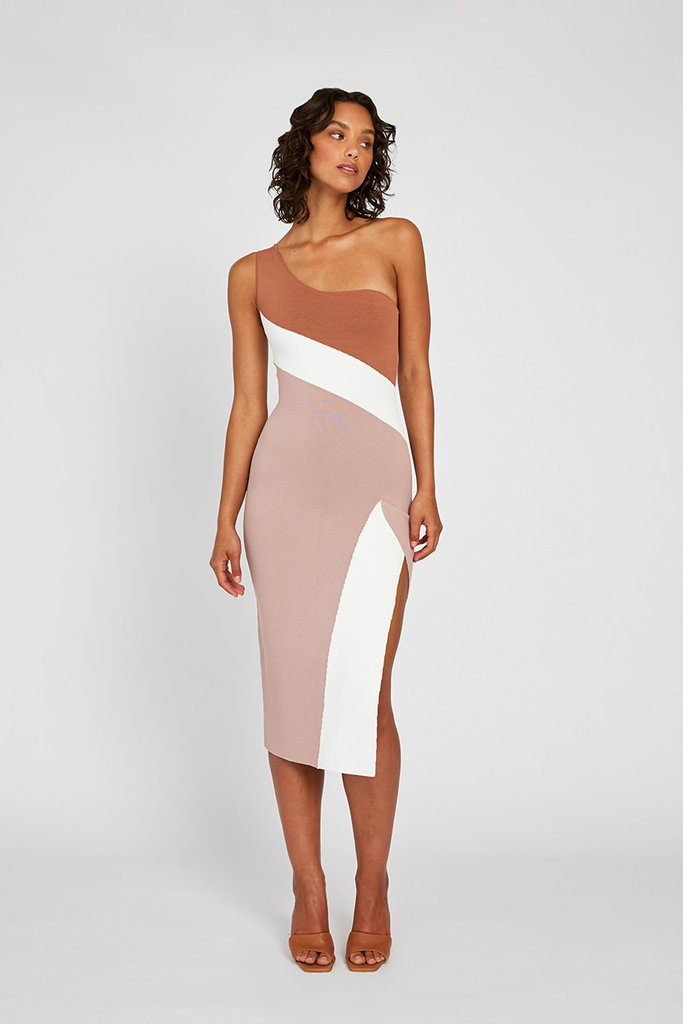By Johnny Taupe Tone Knit Midi