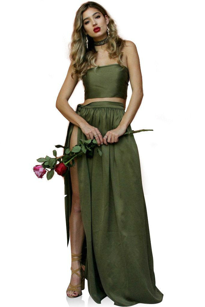 Sisters The Label Two Piece Multi Wrap Gown -Forrest Green