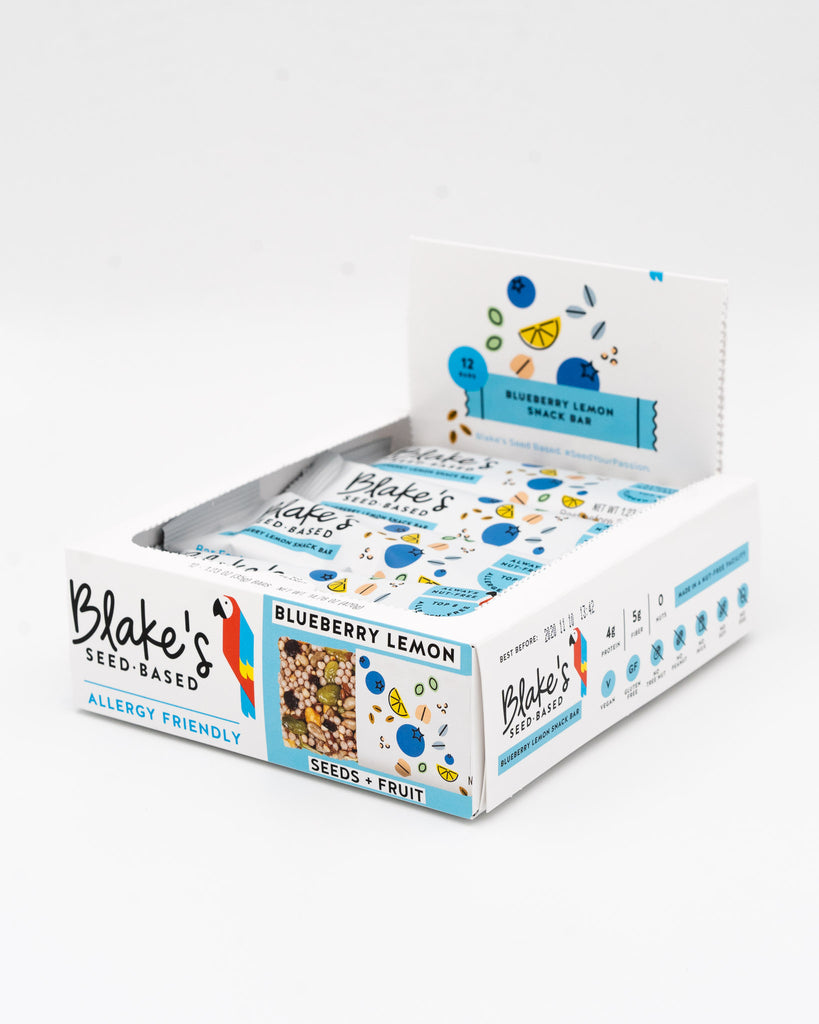 Blake's Seed Based, Blueberry Lemon, Snack Bars, 12 bar case, Allergy Friendly, Gluten Free, Vegan, Non GMO
