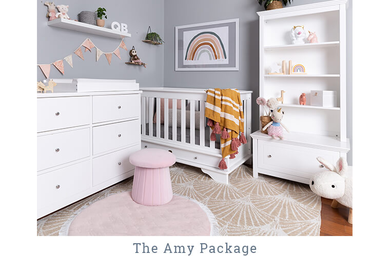 THE AMY PACKAGE, Contemporary Cot, 6 Drawer Chest with Change Mat & Toy Shelf