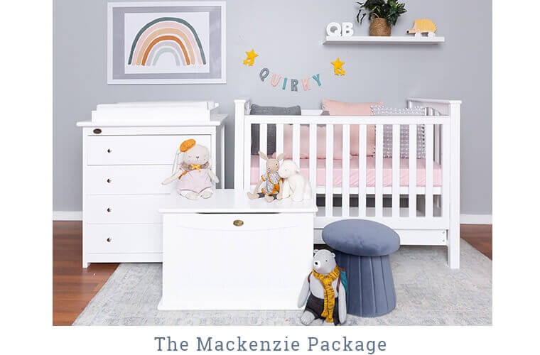 THE MACKENZIE PACKAGE includes the Stirling Cot, 4 Drawer chest with change mat and Toy Box