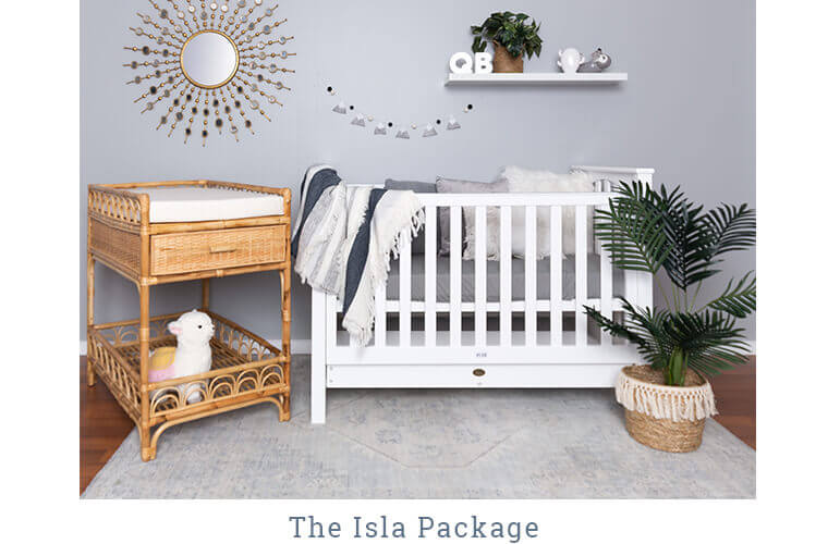 THE ISLA PACKAGE contains the Stirling Cot and the Sienna Change Table with Change Mat