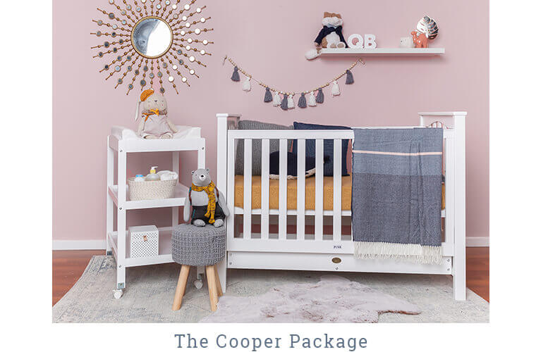 THE COOPER PACKAGE includes the Stirling Cot and Change Table with Change mat